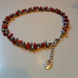 Red coral and freshwater pearl ankle bracelet